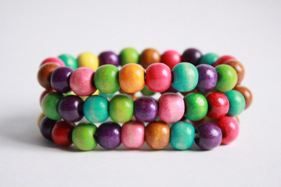 Handmade Wooden Rainbow Colored Beads Bracelet Set, Party-going