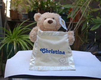 Peek a Boo Interactive Talking Teddy Bear Toy w/Custom embroidered Name and Birthdate