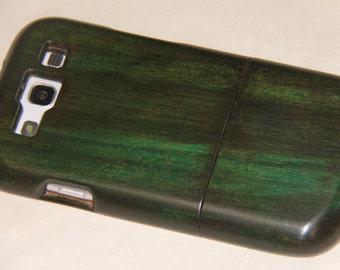 Samsung Galaxy S3 wood custom green hand-finished case