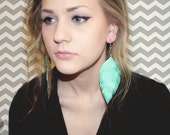 Mint Candy - Mint and Sparkle Leather Feather Earrings