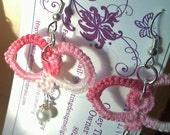 Hearts and pearls tatted earrings