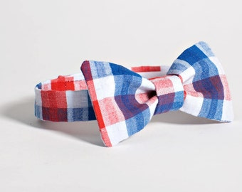 Red White and Blue Bow Tie - Baby Boy Bow Tie, Red White Blue Baby Bowtie, Boys Bow Tie, 4th of July Baby Boy Bowtie