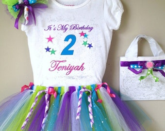 Birthday Tutu outfit personalized with child's name,age and A Birthday Phrase sz.12 months to 3t
