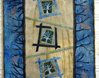 Trees - Art Quilt - Quilt - Abstract - Wall Art - Art - Textile - Wall Hanging - Blue - Green - Handmade - Original