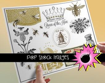 Collage Sheet Bees & Beekeeping - Honey - Queen Bee Digital Collage Sheet - Digital Clipart Bees - Bee Hive Clip Art - Instant Download