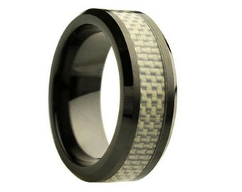 Ceramic Wedding Band,Mens Ring,Mens Wedding Bands,Custom Made,Rings,Silver Carbon Fiber,8mm,Engraving,Mans,Anniversary,His,Set,Size,Women,10