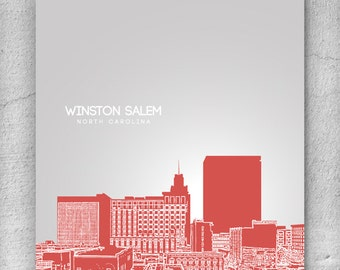 Skyline Office Art Poster / Winston Salem Cityscape / Pop Art Print / Any City or Landmark