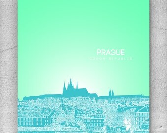 Prague Skyline Poster / Travel Destination Wall Art Poster / Any City or Landmark