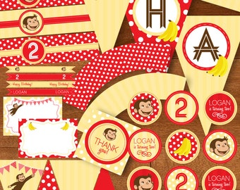 Curious George Birthday Party Printable Package DIY - Monkey Bananas Red Yellow