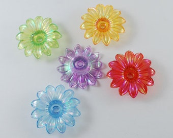 20 Transparent Sunfower Acrylic Beads, Mixed Color