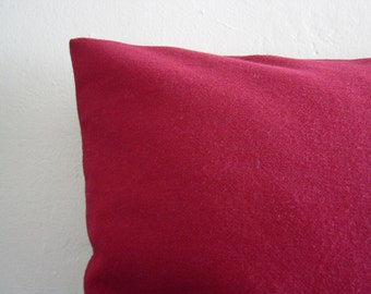 """18"""" by 18"""" Cranberry Red 100% Wool Pillow Cover"""