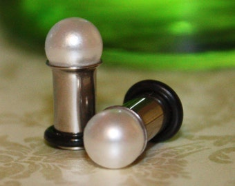 Pearl 8mm ball plugs tunnels for gauged / stretched ears: 12g,10g, 8g, 6g, 4g, 2g