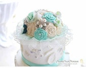 Wedding Brooch Cake Topper Flower Beaded Jeweled Topper in Champagne, Ivory Mint and Jade