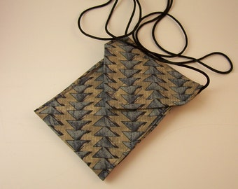Two Pocket Upcycled Tie Purse, Cell Phone, Camera Holder, with Cross-Body Strap
