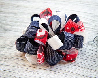 Denim and Red Bandana Loopy Puff Bow