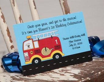 Firetruck Birthday Invitation Firetruck Invitation Firetruck Party Fire Truck Birthday Fire Truck Party Fire Engine Birthday