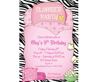 Sleepover Invitation Sleepover Birthday Invitation Sleep Over Invitation Sleep Over Party Slumber Party