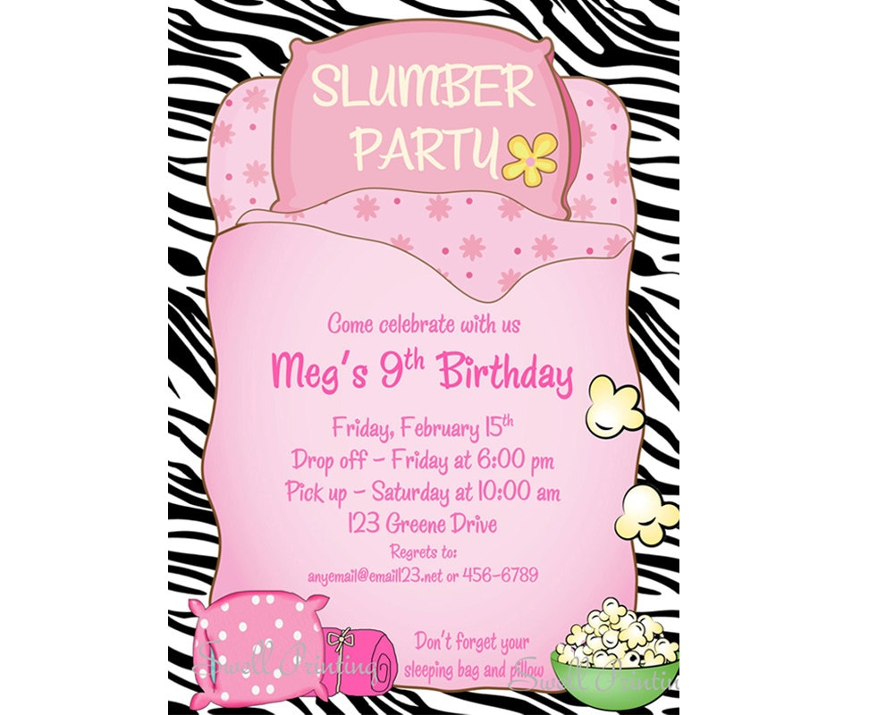 Sleepover Invitation Sleepover Birthday Invitation Sleep Over