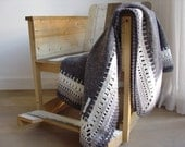Ellaine, crocheted blanket, grey moving blanket with grey cotton