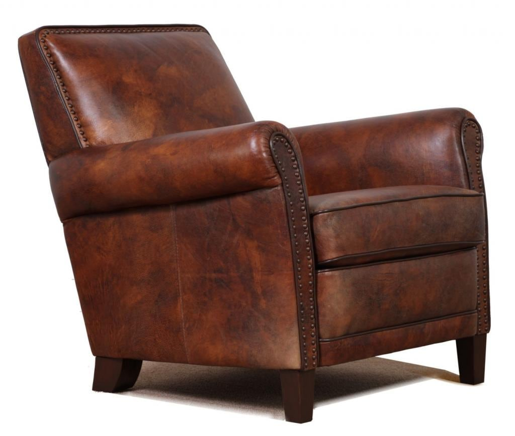high end genuine leather accent chair club chair