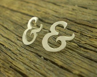 sterling silver ampersand stud earrings - typography jewellery