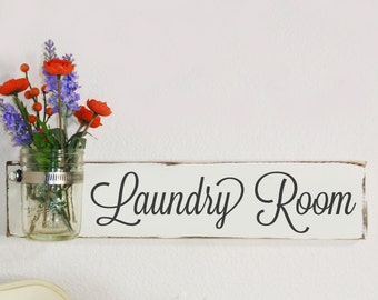 Laundry Room Sign With 8oz. Jelly Mason Jar-  Ivory  With Hand Painted Black Lettering- French Chic- Shabby- Country Decor