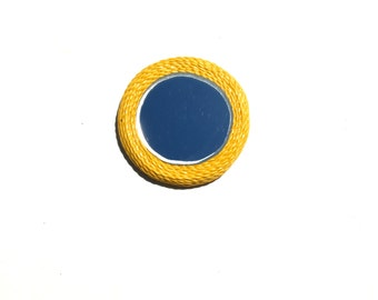 DECORATIVE Small Mirror, Yellow Mirror with Magnet, can be used as a fridge magnet, pocket mirror, purse mirror, make up mirror, small gifts