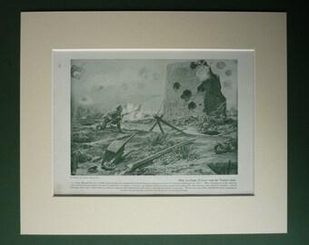 Original 1919 WWI Print  - First World War - Matted - Sepia - One - Military Uniform - Victoria Cross - Bravery - Irish Guards