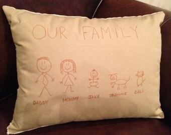 Custom Personalized Stick Figure Family/Child Pillow