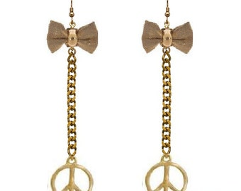 Gold Bowtie Peace Sign Dangle Earrings - Exclusively Designed By ShopAtLuxe