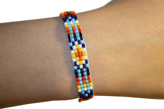 Beaded Friendship Bracelet Loom Tribal Pattern Beaded