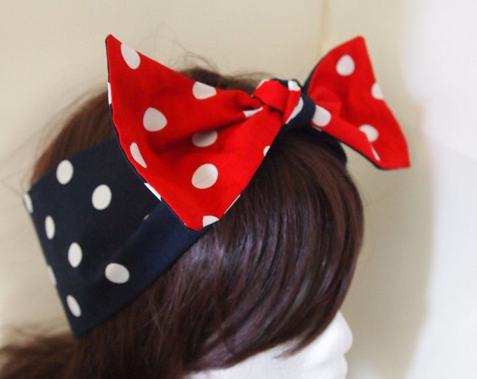 Vintage 50s Reversible Polka Dot Bow Head Scarf - Red Blue Hair Tie 50s Pin Up Girl Rockabilly Steampunk Dance 1950s