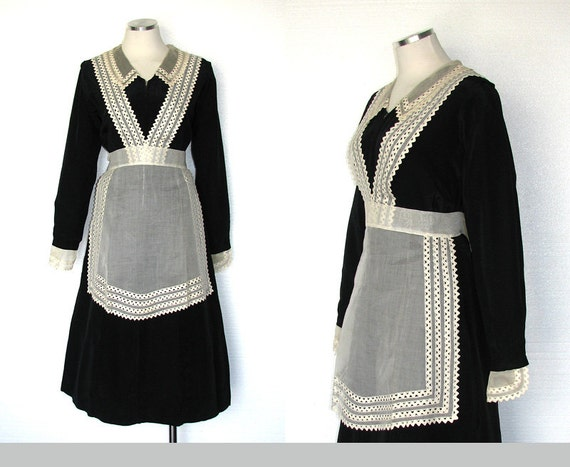 Vintage 30s maid costume 30s servant dress downton abbey - Uniforme femme de chambre hotel ...