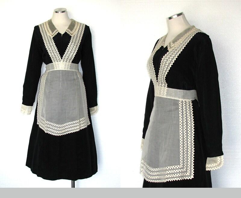 Vintage 30s Maid Costume 30s Servant Dress Downton Abbey