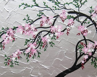 "cherry blossom tree trees large abstract art black gray grey silver pink green Japanese painting wall paintings, 24"" x 12"""