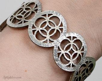 Bracelet - Celtic - Silver Leather - Laser Cut