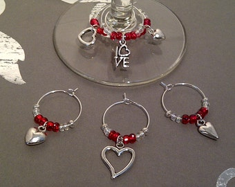 Hearts and Love Wine Charm Set of 6 - Valentine's Day Wine Charms