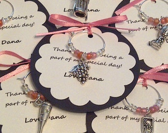 Custom Wine Themed Wine Charm Favors - Weddings, Bridal Shower, Rehearsal Dinner, Anniversary, Birthday Party or Special Event