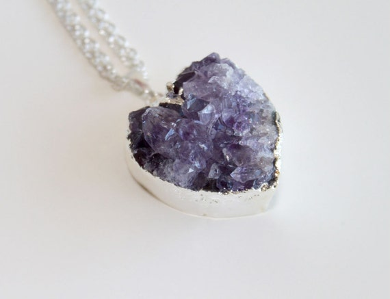 Purple Amethyst Druzy Necklace. Silver Dipped Heart Pendant. Natural Stone Silver Necklace. Valentine gift for her.