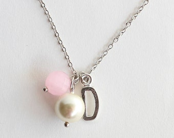 Bridesmaid personalized pearl necklace initial silver plated letter pink gemstone wedding gift bridal jewelry