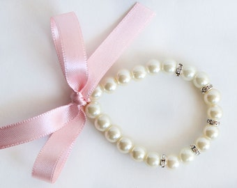 Flower girl gift, flower girl bracelet, blush pink ribbon, wedding bracelet, junior bridesmaid gift