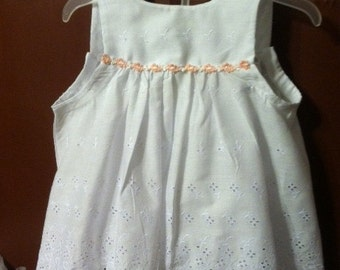 Items similar to Pink Gingham and Eyelet Baby Dress and