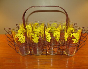 Vintage Set Of Eight Leaf imbossed Glasses With Metal Glass And Plate