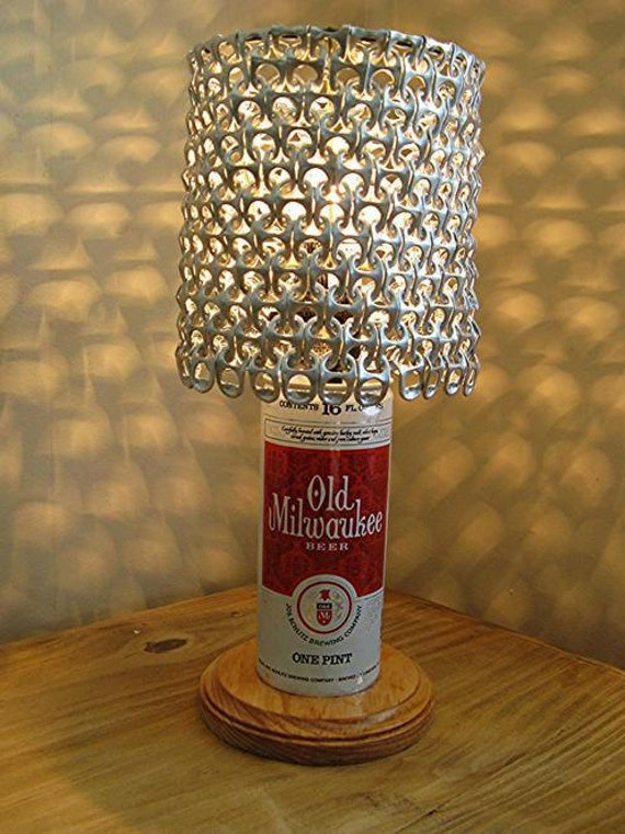 Vintage Old Milwaukee Beer Can Lamp With Pull Tab Lampshade