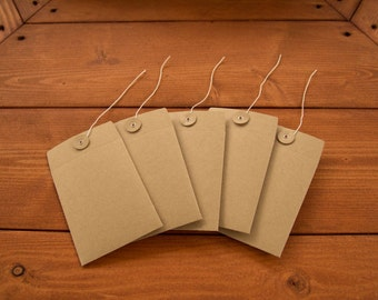 Extra Small Brown Paper Button Closure Envelopes Set of 5,  4 x 3 inches
