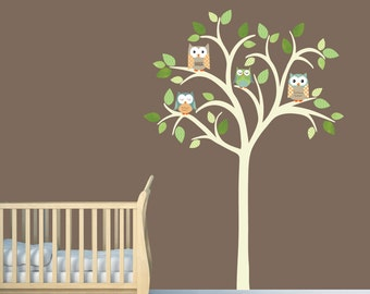Owl tree wall decal, Nursery Wall Decal, Owl tree wall sticker, Owl Nursery Art, owl wall decal, nursery owl decor, Timothy Design