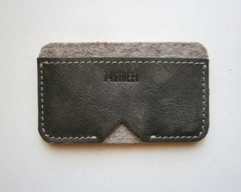 Business Card Case,Grooms gift, Best men gift, Wedding gif, Card Case,Handmade Card Case,Leather and Felt Card Case