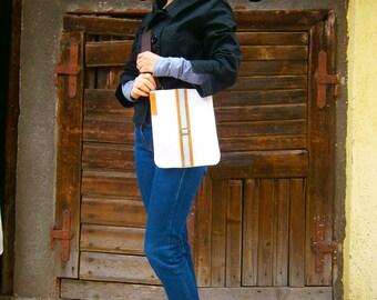 White Streaky Crossbody Bag, Summer Bag, Crossbody bag, White genuine Leather Bag, Handmade Bag, Casual Crossbody