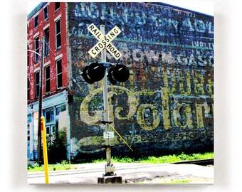 AUGUSTA KENTUCKY Pop-Art Style Canvas Print of Historic Warehouse on Railroad Tracks