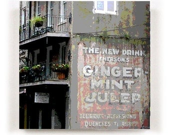FRENCH QUARTER Canvas Print of Old Building with Vintage Sign in New Orleans Louisiana